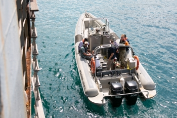 NNSA partnered with NATO to complete its first-ever Maritime Pilot course. Here, the Spectral Advanced Radiological Computing System used during maritime search operations on a Rubberized Hardened Inflatable Boat.