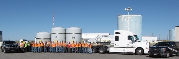 EM crews pose with Idaho State Police (ISP) officers in advance of the 500th shipment of transuranic waste leaving the Radioactive Waste Management Complex, headed for the Waste Isolation Pilot Plant.