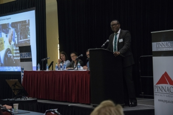Savannah River Nuclear Solutions Small Business Liaison Officer J. Alex Agyemang spoke on Savannah River Site subcontracting opportunities and forecast at the ETEBA Savannah River Federal Business Opportunities Forum