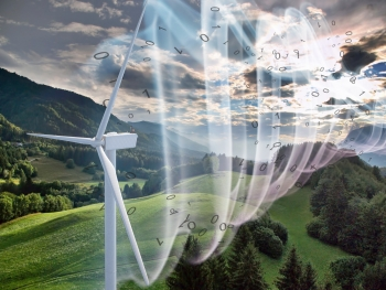 Illustration of wind turbine and wind flow in front of green hills.