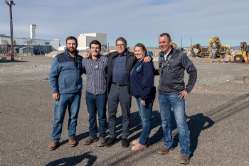 Energy Secretary Rick Perry, center, thanked, from left, Mike Garza, Gabriel Mosbrucker, Amanda Gustafson, and Frank Vargas with contractor CH2M HILL Plateau Remediation Company for their contributions.