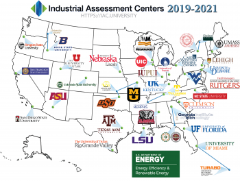 A Map of the united states, with a listing of all of the Industrial Assessment Centers.