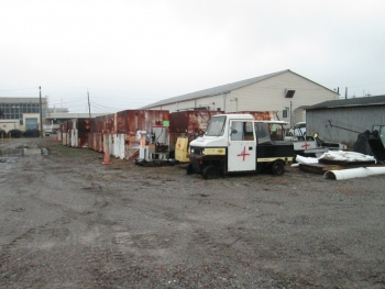 Before and after images of the south storage area of the C-740 Material Yard.