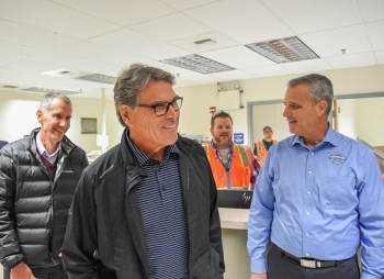 Energy Secretary Rick Perry visited the new control center for the Waste Treatment and Immobilization Plant's Low-Activity Waste Facility, which will begin treating Hanford tank waste by the end of 2023.