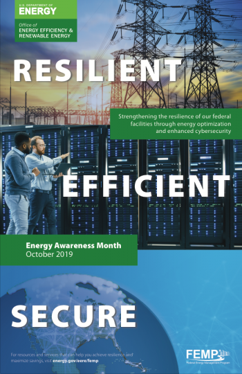 The words Resilient, Efficient and Secure overlaying photos of a data center, an interconnected world, and an energy grid.