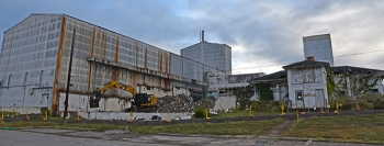 Demolition is now underway on the Centrifuge Complex, which contains the largest and most visible remaining structures at Oak Ridge's East Tennessee Technology Park.