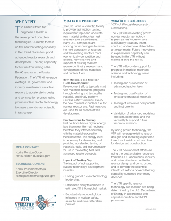 Fact sheet on Versatile Test Reactor and why it is needed