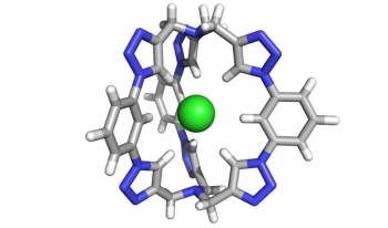 """The salt-extraction molecule is composed of six triazole """"motifs"""" (computer-generated image). The motifs are five-membered rings composed of nitrogen, carbon and hydrogen. Together, these rings form a 3-D """"cage"""" perfectly shaped to trap chloride."""