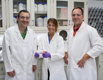 MLEF Graduate Ashely LeDonne pictured with two program mentors, Dr. Evan Granite and Dr. Elliot Roth