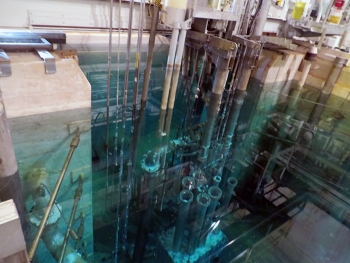 Employees with UCOR, EM's Oak Ridge cleanup contractor, designed tools to characterize a 27-foot-deep reactor pool, pictured here. The pool is located inside Building 3010 at DOE's Oak Ridge National Laboratory.
