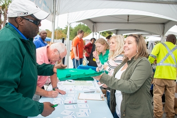 Employees sign in at the Savannah River Site Safety Expo.