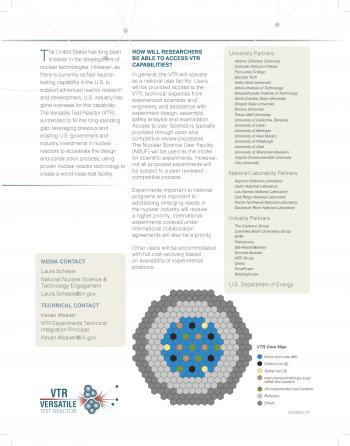 Fact sheet explaining capabilities of versatile test reactor