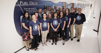 Group photo of about 20 Fuel Cell Technologies Office staff on 2019 Hydrogen and Fuel Cell Day