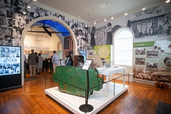 """A view of the Savannah River Site Museum's """"6,000 Stories"""" exhibit, which features photographs, maps, artifacts, and interpretive panels about the 6,000 individuals displaced in Ellenton, Dunbarton, Meyers Mill, Hawthorne."""