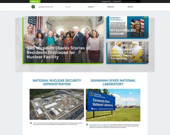 A view of the homepage for the new Savannah River Site website.