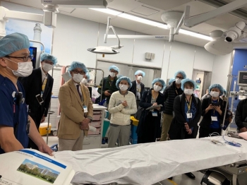 NNSA representatives observe exercise activities at a local hospital in Shimane, Japan.