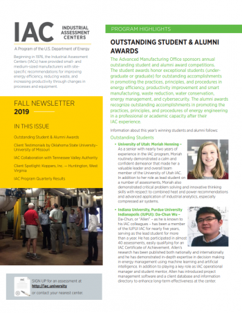 screenshot of the fall 2019 IAC newsletter.
