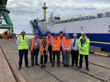 EM Senior Advisor to the Under Secretary for Science Ike White visiting International Nuclear Services facilities in Barrow-in-Furness, UK, in September 2019.