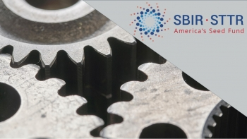 "a photo of cogs, with the words ""SBIR - STTR - America's Seed Fund""."
