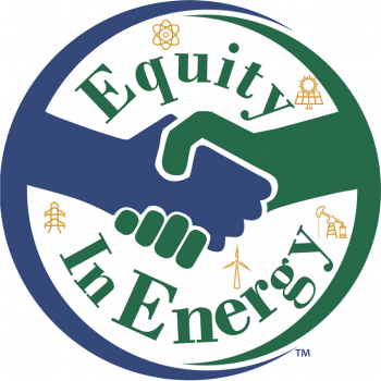 Equity in Energy logo. Two hands shaking with icons representing various energy producing machines i.e. oil pump, solar panels, etc.