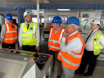 EM Senior Advisor to the Under Secretary for Science Ike White aboard the International Nuclear Services' Pacific Egret in Barrow-in-Furness, UK,  in September 2019.