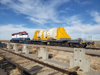 Atlas railcar with heavy test load, October 2019.