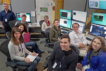 Some of the SPARK students and teachers with Brookhaven Lab staff at NSLS-II's AMX beamline.