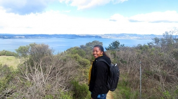 NREL researcher Juliette Ugirumurera enjoys hiking in her free time. She hiked in California a few years after moving to the United States.