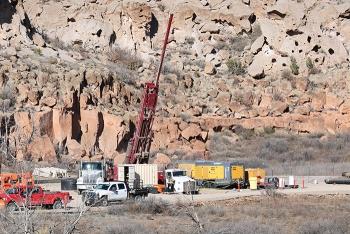 Workers with Newport News Nuclear BWXT-Los Alamos drill a well to monitor the chromium plume underneath Mortandad Canyon at Los Alamos National Laboratory.