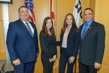 DOE Office of Legacy Management Director Carmelo Melendez, LM Fellows Beatriz Perasso and Olivia Bustillo, and Leonel Lagos, the DOE Fellows Program director and principal investigator for the DOE-Florida International University cooperative agreement.