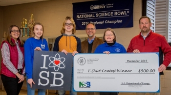 Students from Heath Middle School won the 2020 DOE Science Bowl T-Shirt Design contest. They are picture here receiving a $500 prize for their school.