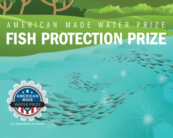 Fish protection prize illustrated graphic of a river side and fish swimming.