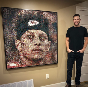 Aaron Norris, a Senior Engineering Technical Specialist who runs a 3D metals lab for KCNSC, has completed numerous oil paintings of Kansas City Chiefs quarterback Patrick Mahomes.