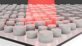 Infrared light shining on a metamaterial whose geometric parameters were selected with machine learning. The designed metamaterials effectively absorb low energy light, providing a route to new devices that turn heat into electricity.