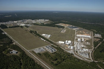 An aerial view of the Savannah River Site solid waste management program area.