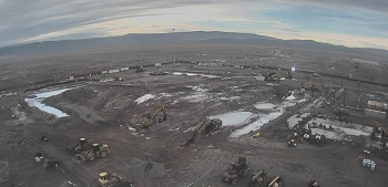 Before and after: Photos of the Plutonium Finishing Plant's main processing facility at the Hanford Site from November 2016, at top, and after the completion of demolition earlier this month.