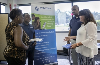 Employees with Strativia, a subcontractor to Savannah River Nuclear Solutions (SRNS), meets with SRNS buyers to discuss development opportunities at the Savannah River Site.