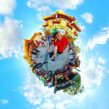 A fun view of a tiny planet.