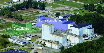 Workers have begun taking down the second of four sections of the Centrifuge Complex at Oak Ridge. Completing this project will move EM closer to its goal of finishing all major demolitions at the East Tennessee Technology Park by the end of the year.