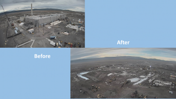 Before and after: Photos of the Plutonium Finishing Plant's main processing facility at the Hanford Site from November 2016 and after the completion of demolition in February 2020.