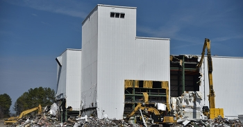Workers begin taking down the K-1200 section of the Centrifuge Complex at Oak Ridge's East Tennessee Technology Park.