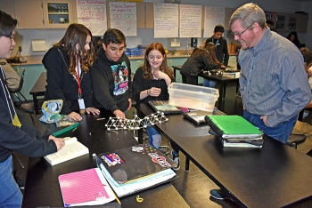 Nathan McKever, reliability/mechanical engineer with EM Richland Operations Office contractor Mission Support Alliance, met with seventh-graders at Park Middle School in Kennewick, Washington during Engineers Week.