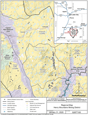 Regional map of the Henry Mining District Project Area.