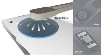 When electricity in a light emitting diode (LED) flows in a direction opposite to normal, it cools nearby materials. For this nanoscale approach to work, the material has to be extremely close to the LED—less than a single wavelength of infrared light.