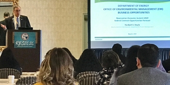 """Norbert Doyle, EM Deputy Assistant Secretary for Acquisition & Program Management discusses EM's mission and major contracting opportunities during the """"Federal Contract Opportunities Forecast"""" session at Reservation Economic Summit 2020."""