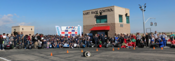 Students participating in the annual Greenpower race at the Utah Motorsports Campus in April 2019