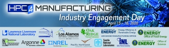 HTC4 Manufacturing Industry Engagement Day - April 15-16, 2020. The image also lists several national labs that will be participating.