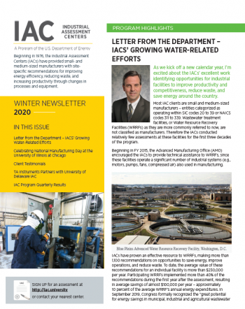 screenshot of the front page of the IAC newsletter
