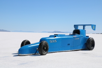 The Wirths' fully assembled racecar sits parked at the Bonneville Salt Flats racetrack in Utah, where they compete each year to set land-speed records in their vintage car class.