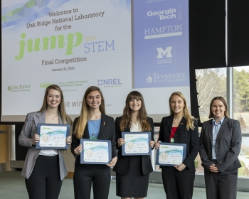 The winning team from Georgia Institute of Technology (From Left: Kira O'Hare, Katie Earles, Taylor Sparacello, and Catherine Moore).